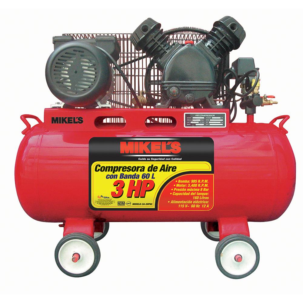 Compresor de aire 3 hp con banda 1270 rpm mikels for Compresor hidroneumatico