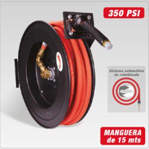 CARRETE ACERO C/MANGUERA INTEGRADA 15m 1/2